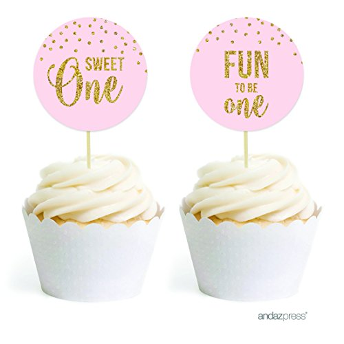 Andaz Press Blush Pink Gold Glitter Girl's 1st Birthday Party Collection, Round Cupcake Topper DIY Party Favors Kit, 20-Pack
