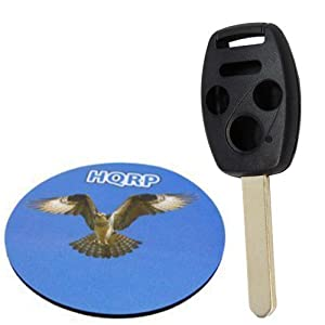 HQRP 4 Buttons Key Fob for Honda Accord 2003 2004 2005 03 04 05 Remote Uncut Shell plus HQRP Coaster