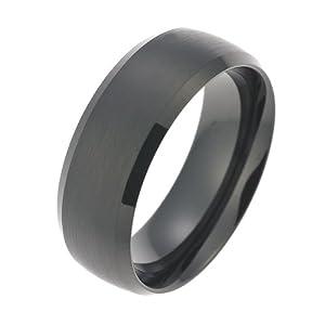 CORE by Schumann Design Herren-Ring Wolframcarbid gebürstet schwarz ohne Stein (CORE Wolfram Basic Collection) Gr. 50 (15.9) TW010.02-50