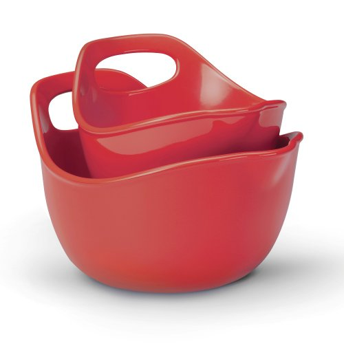 Rachael Ray Stoneware Serving and Mixing Bowl Set, 1-Quart and 2-Quart, Red