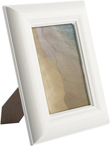 White Photo Frames with Glossy Beveled Border, Choose 4x6, 5x7, 8x10; Genuine MDF Wood - Set of 6
