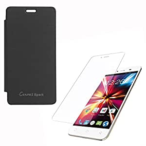 DMG Easy Snap-On Flip Cover Case for Micromax Canvas Spark Q380 (Black) + Clear Screen Protector