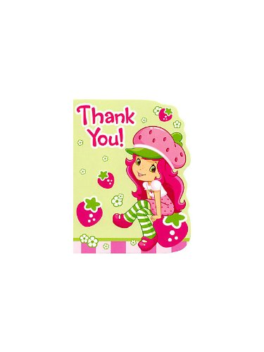 Strawberry Shortcake Party Thank You Notes - 8 Envelopes and 8 Seals
