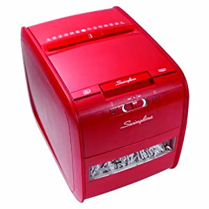 Swingline Stack-and-Shred Red 60-Sheet Hands Free Shredder, Cross-Cut, 60 Sheets, 1 User (1757579)