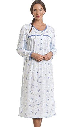 Camicia da notte donna maniche lunghe - Motivo floreale classico - Blu 46