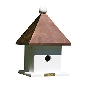 Lazy Hill Farm Designs 42423 Mini House White Solid Cellular Vinyl with Polished Copper Roof, 9-Inch square by 14-1/2-Inch