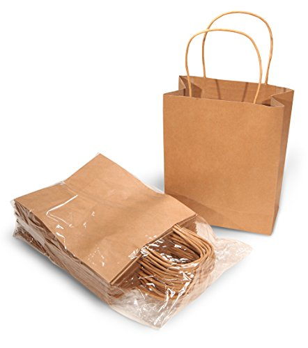 Brown Paper Kraft Bags with Handles for Gifts, Arts & Crafts, Retail - 24 Count 9x7x3