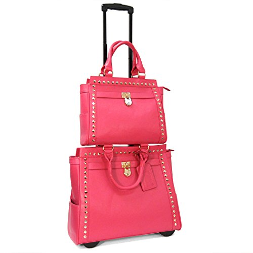 cabrelli-pyramid-studs-laptop-rollerbrief-and-tablet-tote-set-pink-one-size