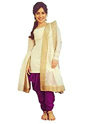 2016's New Arriva Look N Buy Women's Cream Pure cotton Un-Stitched dress Material (O185-05_cream_free size)