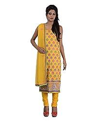 Mumtaz Sons Women's Cotton Unstitched Dress Material (MS111412D,Yellow)