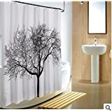 Harbor-Tower shower curtains, waterproof and mildew, black tree 72x72(inches)