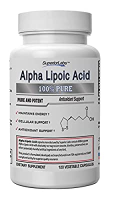 #1 Alpha Lipoic Acid - Powerful 600mg, 120 Vegetable Capsules - Made In USA, 100% Money Back Guarantee