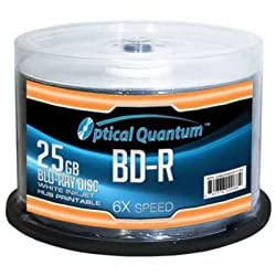 OPTICAL QUANTUM OQBDR06WIP-H-50 25GB 6XBD-R WHITE INKJET HUB PRINTABLE 50PK