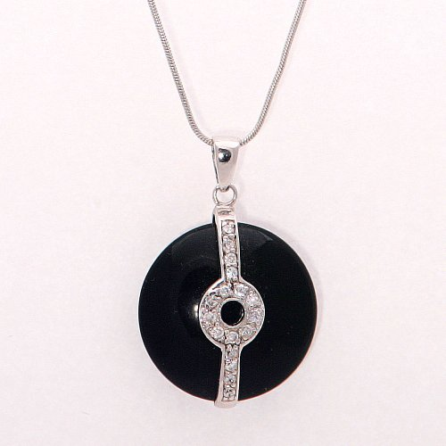 .925 Silver Stamped Black Stone Pendant Necklace