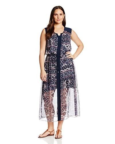 Vince Camuto Plus Women's Tribal Patchwork Tie Waist Maxi Dress