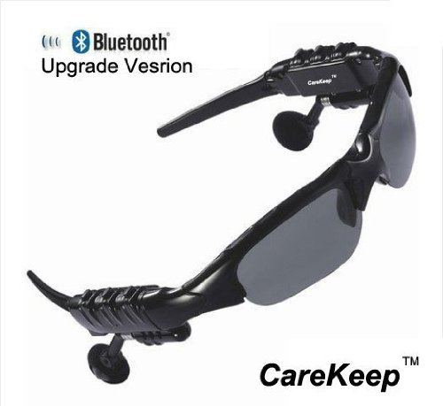 Carekeep Sports Bike Bicycle Out Outdoor Stero Bluetooth Sunglass Handsfree Headset Music Player For Iphone5 4S Samsung Galaxy Siii Siv S3 S4 S5 Mini Htc One M7 Black With Grey Lens