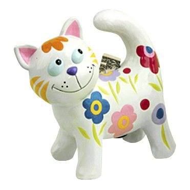 Multi-Colored Floral Ceramic Kitty Cat Piggy Bank - Standing White Cat With Multi-Colored Flowers front-1034469