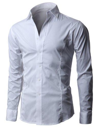 H2H мужчины's морщины бесплатно Slim Fit рубашка…