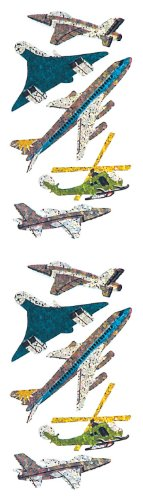 Jillson Roberts Prismatic Stickers, Planes, Jets, and Helicopter, 12-Sheet Count (S7190)