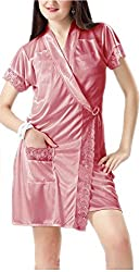Hot N Sweet Womens Satin Nightwear -Peach -Free Size