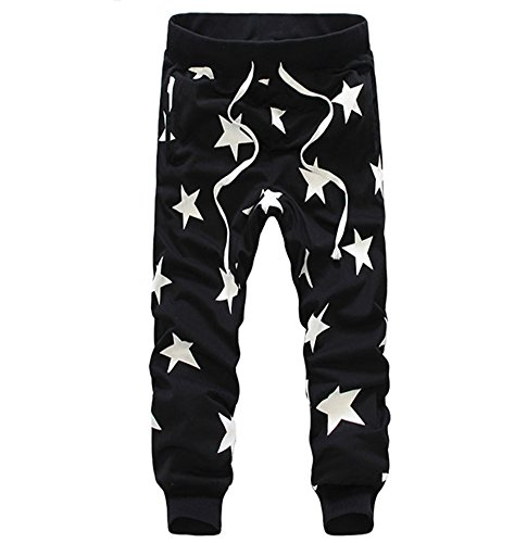Men Star Print Hip Hop Sweatpants Dance Baggy Long Slack Pants X-Large Black