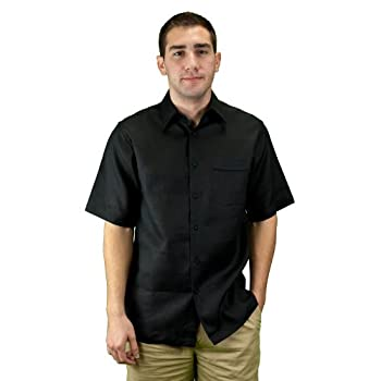 Mens linen summer wear shirt, black.