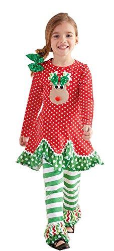 Peaches 'N Cream Red Dot Reindeer Legging Set (7)