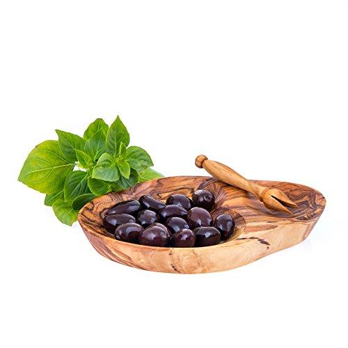 "Olives Serving Dish Olive Wood Handmade, 2 Sections 17cm (6.7"")"