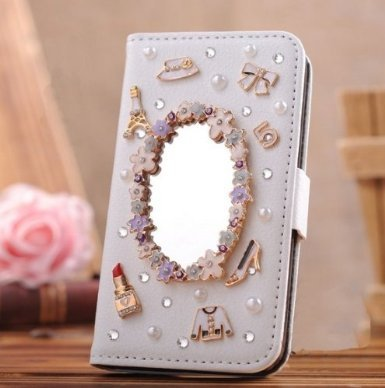 Candymaker Samsung Galaxy S5 I9600 Case Luxury 3d Bling Crystal Rhinestone Wallet Leather Purse Flip Card Pouch Stand Cover Case + Bonus Candymaker Stylus(makeup Mirror)
