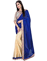 Swasti Fab Women's Velvet Saree With Blouse Piece (Blue And Beige)