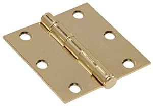 """The Hillman Group 851240 3"""" Residential Door Hinge - Square Corner - Removable Pin - Full Mortise - Brass Finish ..."""