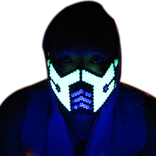 Glow In The Dark Sub Zero Outline Mortal Kombat V1 Full Kandi Mask by Kandi Gear