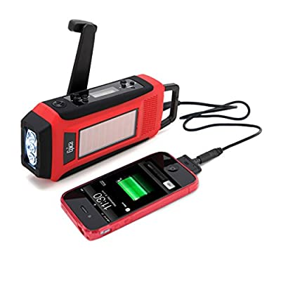 Epica Emergency Solar Hand Crank AM/FM/NOAA Digital Radio, Flashlight, Cell Phone Charger with NOAA Certified Weather Alert & Cables by Epica