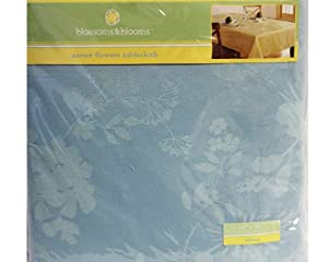 "Blossoms & Blooms Easter Flower Oblong Tablecloth-Blue 60"" x 84"""