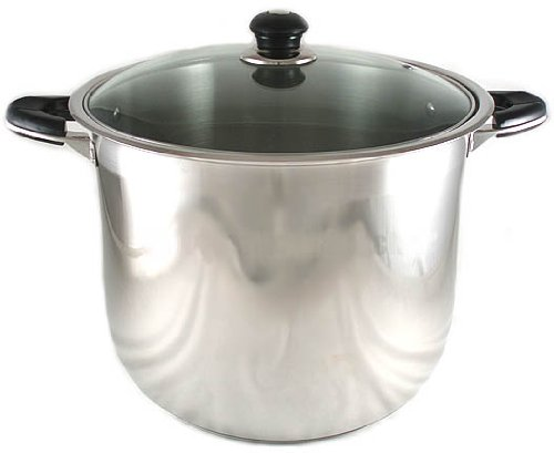 NEW 12-QUART HEAVY-GAUGE STAINLESS STEEL (18/10) STOCK POT W/ GLASS LID COVER (18 Gauge Stainless Steel Pot compare prices)