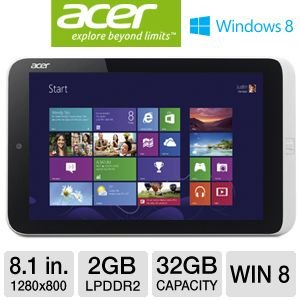 "Acer 8.1"" W3-810-1600 Internet Tablet - Windows 8, 8.1"" Touchscreen, 1.5GHz Intel Atom Z2760, 2GB LPDDR2, Micro SD, 32GB Flash Memory, Built-in WiFi, Bluetooth, HDMI, Micro USB"