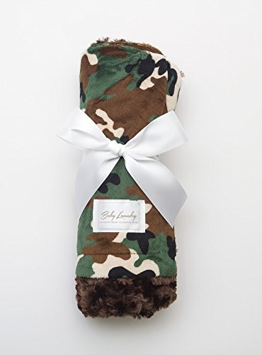 Baby Laundry Patterned Baby Blanket for Boys Girls - Camo/Chocolate Swirl Baby (27