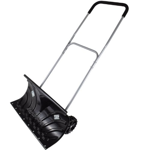 ® Schneeschieber MOBILE - fahrbar mit extra-breiten Kunststoffblatt von 66 cm, schwenkbarer Doppel-Stahlstiel mit Kunststoffüberzug