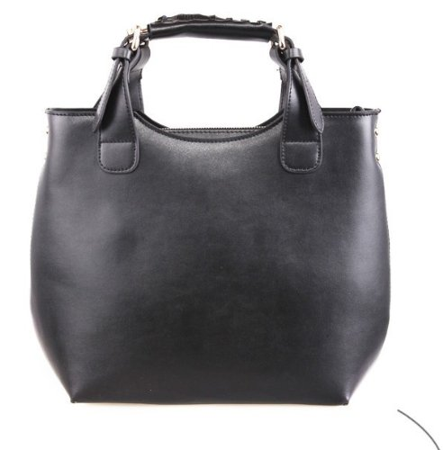 Black Vintage Celebrity Faux Leather Tote Shopping