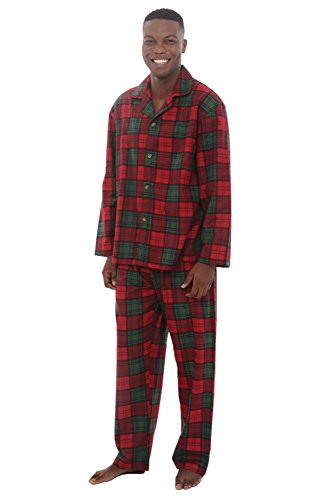 Del Rossa Men's Flannel Pajamas, Long Cotton Pj Set, XL Red and Green Plaid