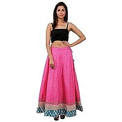 Beautiful Pink Cotton Lehariya Skirt