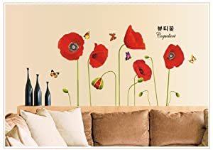 Bigmouth Red Flowers Coquelicot Corn Poppy Butterflies Flower Bud Wall Mural Home Decor Decals from Bigmouth
