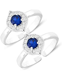MJ 925 CZ Embedded 92.5 Sterling Silver Toe Rings For Women In Rhodium Finish