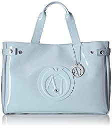 Armani Jeans Eco Patent East West Tote, Light Blue