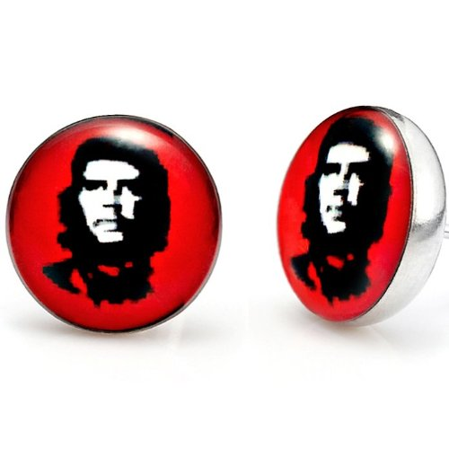 Trendy Mens Stainless Steel Che Guevara Stud Earrings Red