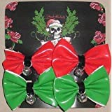 Dog Christmas Jingle Bell Hair Bows - 2 Patent Red And 2 Patent Green