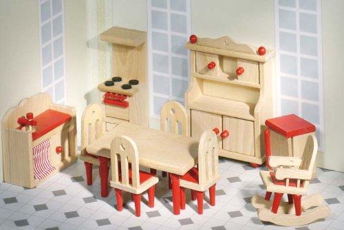 Goki komplette puppenhaus einrichtung mit puppen im set for Komplette kinderzimmereinrichtung