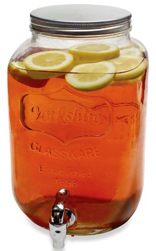 Circleware Yorkshire SUN TEA Mason Glass Drink Beverage Dispenser with Metal LID and Spigot, 2 Gallon Capacity, Limited Edition Glassware (Sun Tea Spigot compare prices)