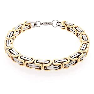 Bling Jewelry 8mm Mechanic Style Mens Link Bracelet 2 Tone Gold Plated Steel 9in from Bling Jewelry