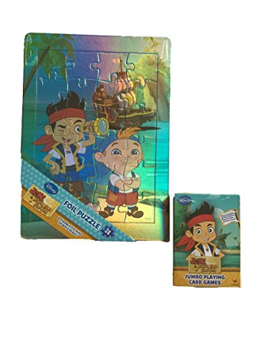 Jake and the Never Land Pirates Foil Puzzle w/ Bonus Jumbo Playing Card Games - 1